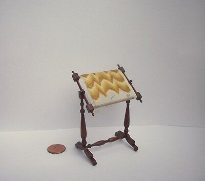 Artist Made Sue Utley Miniature Petite Point w Stand Dollhouse