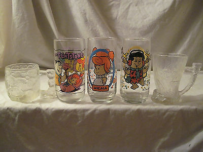 Flintstones Collectible Glass Cups Lot of 5 - McDonalds, Pizza Hut, Hardees
