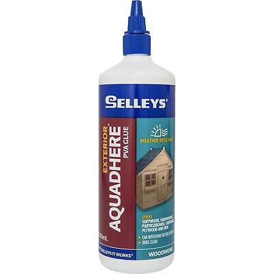 Aquadhere Exterior Wood Glue Weather Proof Dries Clear Bottle 500ml