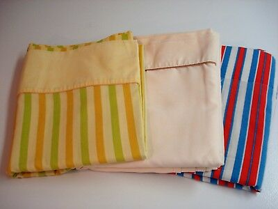 Vtg Lot 3 Full Size Flat Sheets 2 Stripes/1 Solid-Cannon/Penneys/Mohawk NO IRON