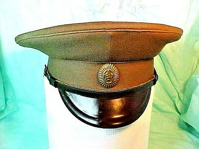 USSR Russian Soviet Military Green Hat Cap WITH VISOR STAR HAMMER SICKLE VINTAGE