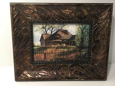 Vintage Picture in Frame Paul James Print of Painting, Old House, Picket Fence