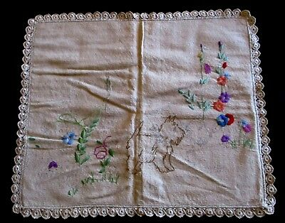 VINTAGE HAND EMBROIDERED CUSHION COVER x CROCHET EDGES - SCOTCH DOGS - USED