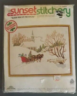 Vintage Sunset Stitchery Sleigh Ride In The Snow Crewel Embroidery Kit #2085