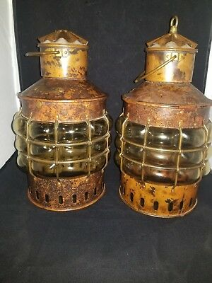 Two Antique Large Brass Copper Ankerlicht Nautical Hanging Lamp Ship Lights