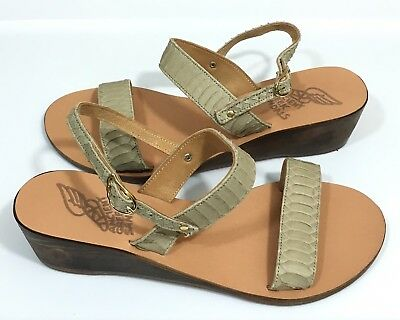 2ac99c27f MISMATCH Ancient Greek Sandals Clio Wedge Sandals SZ 38  39 Taupe Snake  Leather