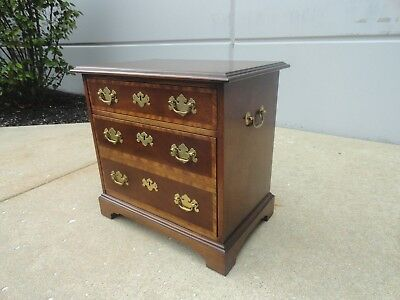 Vintage Baker Furniture Banded Mahogany Chippendale two Drawer Bachelor Chest