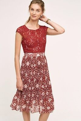 Anthropologie Tracy Reese Plenty Arcadia Red Burgundy Lace