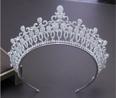 7CM high Retro Style Large Adult Crystal Pearl Wedding Bride Party Dancer Crown