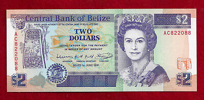 1991 Belize $2 Note  P-52b