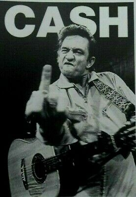 "Johnny Cash Middle Finger Sticker Decal   Classic Country Gold  2.3/4"" x 3.3/4"""