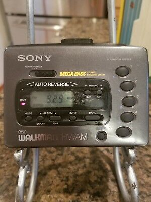 Sony Walkman Model #wm-Fx42 Am/fm Radio+Cassette Mega Bass Black  Belt Clip