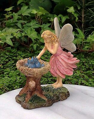 Miniature Dollhouse FAIRY GARDEN ~ Bluebird Nest with Pink Fairy Girl ~ NEW