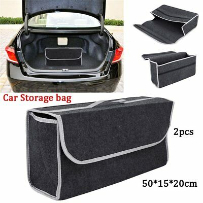 2PCS Car Boot Organizer Grey Large Velcro Carpet Storage Bag Tools Car Boot Tidy