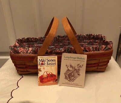 Longaberger 1991 May Series Rose Basket Set - 2nd in Series w/ Product Cards