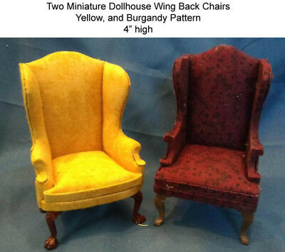 2 Miniature Dollhouse Wing Back Chairs Yellow & Burgandy
