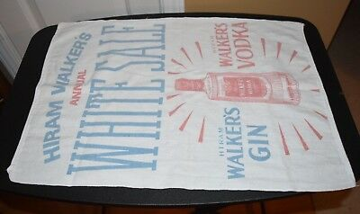 Hiram Walker's Gin and Vodka Vintage Advertising Towel Annual White Sale