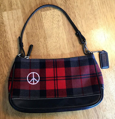 Vintage Hand Painted Red & Black Plaid Coach Demi-Purse with Peace Sign