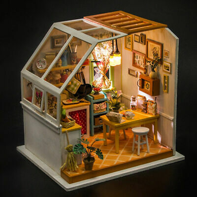 ROBOTIME DIY Dollhouse Wooden Miniature Furniture LED Kit Kitchen Gift for Women
