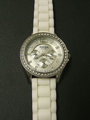 (W) Fossil Crystal Multi-Function Watch White Silicone Bd Es2344 Pre-Own
