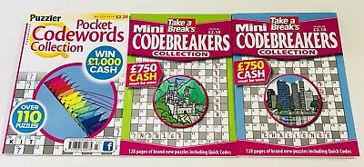 Codewords Puzzle Book Collection X3 Codeword Books (Brand New Back Issues)
