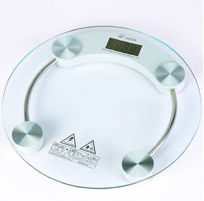 Thick Tempered Glass Body Round Digital Weighing Bathroom Gym Scale Transparent