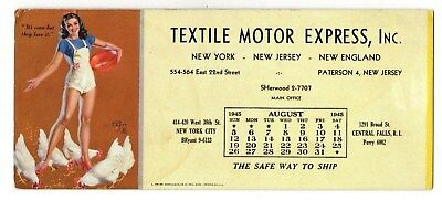 1945 Textile Motor Express Trucking Co. Ink Blotter (Farm Girl Pin-Up) Creased