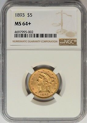 1893 $5 Gold Liberty Half Eagle NGC MS-64+ **Only 125pcs. Graded Higher**