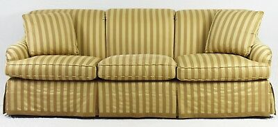 Baker Furniture Company Traditional Sofa with Beige Stripped Upholstery