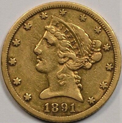 1891-CC $5 Liberty Head Gold Half Eagle **Great For Type**