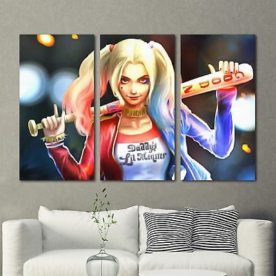 Harley Quinn Painting 3PCS HD Canvas Print Home Decor Room Wall Art Picture