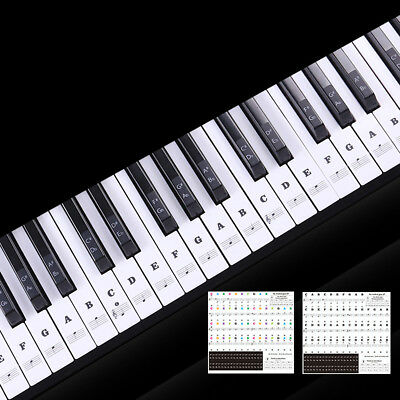 Speeds memory Transparent  Musical Sticky Piano Keyboard Stickers 88/61/54 Keys