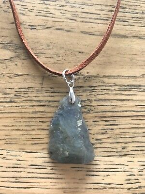 Raw natural Labradorite moonstone on brown suede necklace
