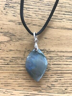 Polished natural labradorite moonstone on black suede necklace