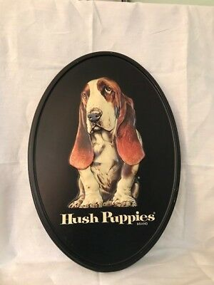 Vintage Hush Puppies Shoes advertising sign, black oval, molded plastic