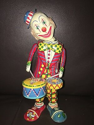 Vintage Alps Antique Tin Litho Toy 1950's Bozo The Clown Rare Windup