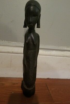 Rjl Wood Hand Carved African Woman Tribal Statues Sculpture Made in Tanganyika