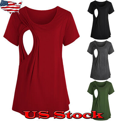 Pregnant Women Maternity Clothes Summer Casual Nursing Breastfeeding T Shirt Top