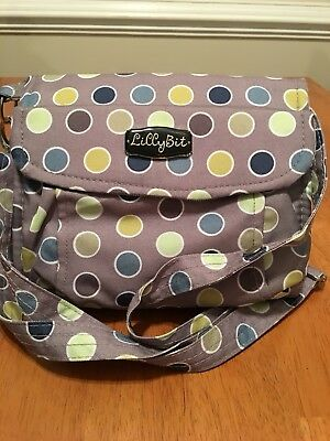 NWOT!  DEMDACO Lillybit Diaper Clutch gray with polka dots