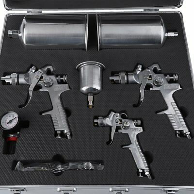 Professional 3pc HVLP Air Spray Gun Paint Auto Car Automotive Shop Painting Kit