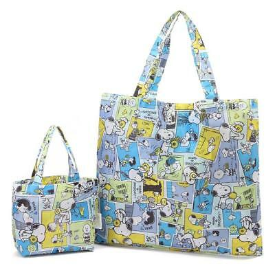 Cute Snoopy Peanuts Cloth Foldable Food Shopping Bag Tote Bag Handbag Set 2pcs