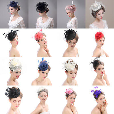 New Lady Fascinator Formal Party Veil Feather Hair Clip Hat Mesh Net Handmade