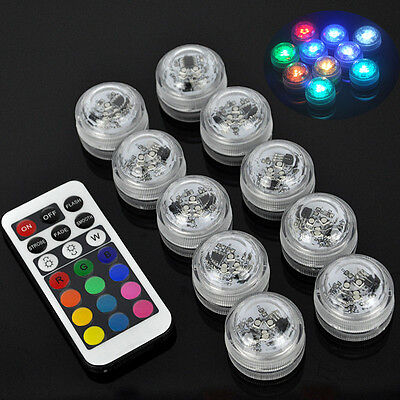 10x RGB LED Light Underwater Party Swimming Pool Spa Bath Light Remote Control