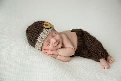 Brown suit Baby Boy  Newborn 0-6M Knit Crochet Costume Photo Prop Outfits