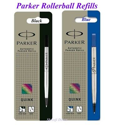 Genuine Parker Medium Fine Ultra Fine Rollerball Refill - Black Blue - Pack of 2