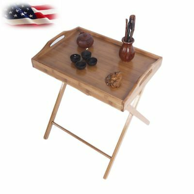 Bamboo Folding Wood Tv Tray Dinner Table Coffee Stand Serving Snack