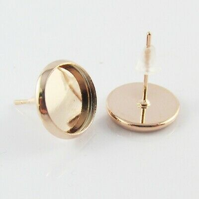 10sets (20pce) Cabochon Setting Post Stud Earring & Back Rose Gold Fit 10mm Cabs