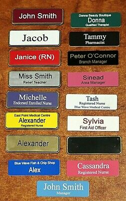 Engraved Name Badge 64x19mm In Holder with Gold Metallic Edge Pin Fastener