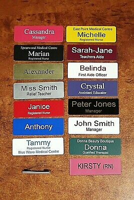 Engraved 76x25mm Name Badge Pin Fastener (New Colours)