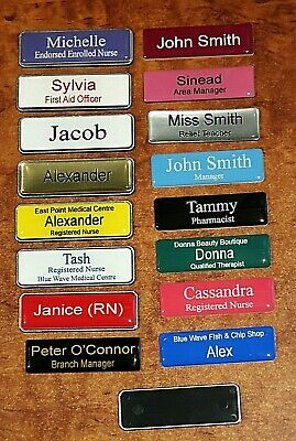 Engraved Name Badge Domed 64x19mm Pin Fastener with Metallic Silver Edge
